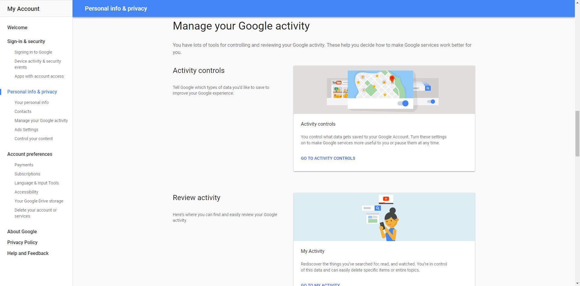 Screenshot of the Google Activity Settings that users can change and control to protect their privacy.