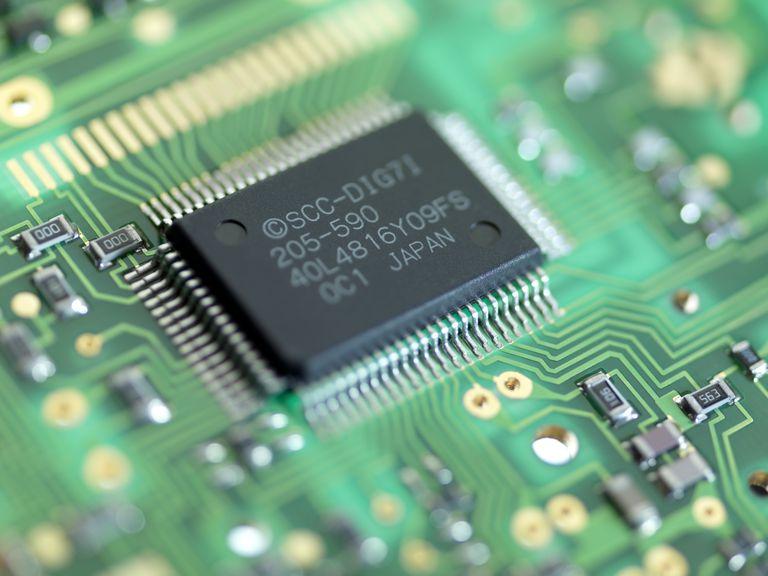 Microprocessor chip in circuit board