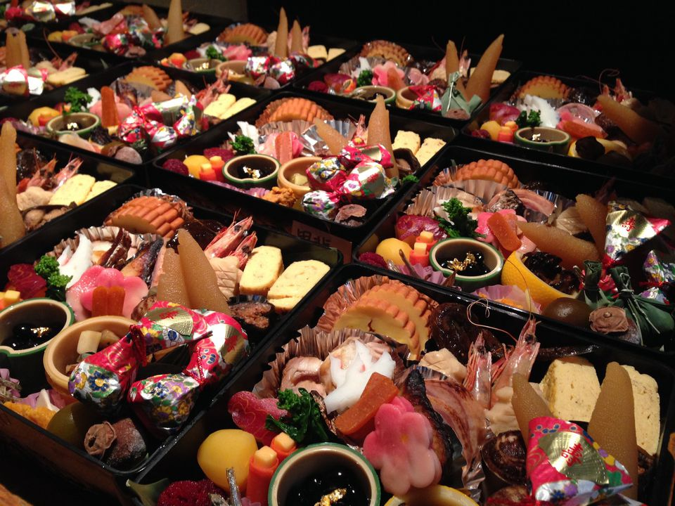 High Angle View Of Fresh Osechi Ryori In Containers