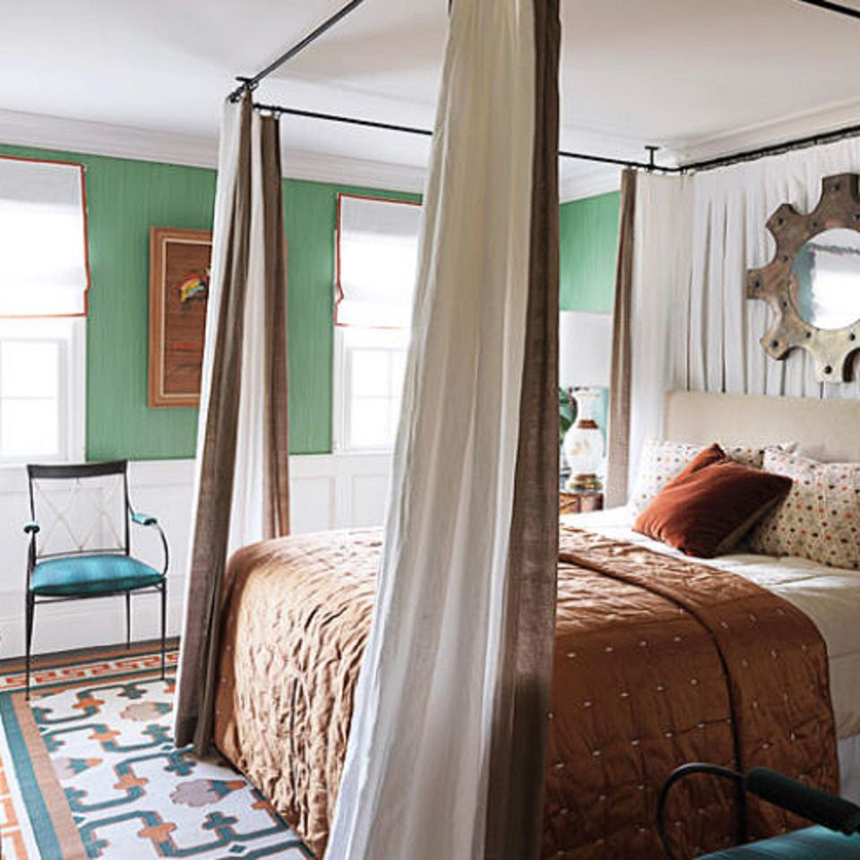 Exotic bedroom with green walls  Green Bedroom Photos and Decorating Tips