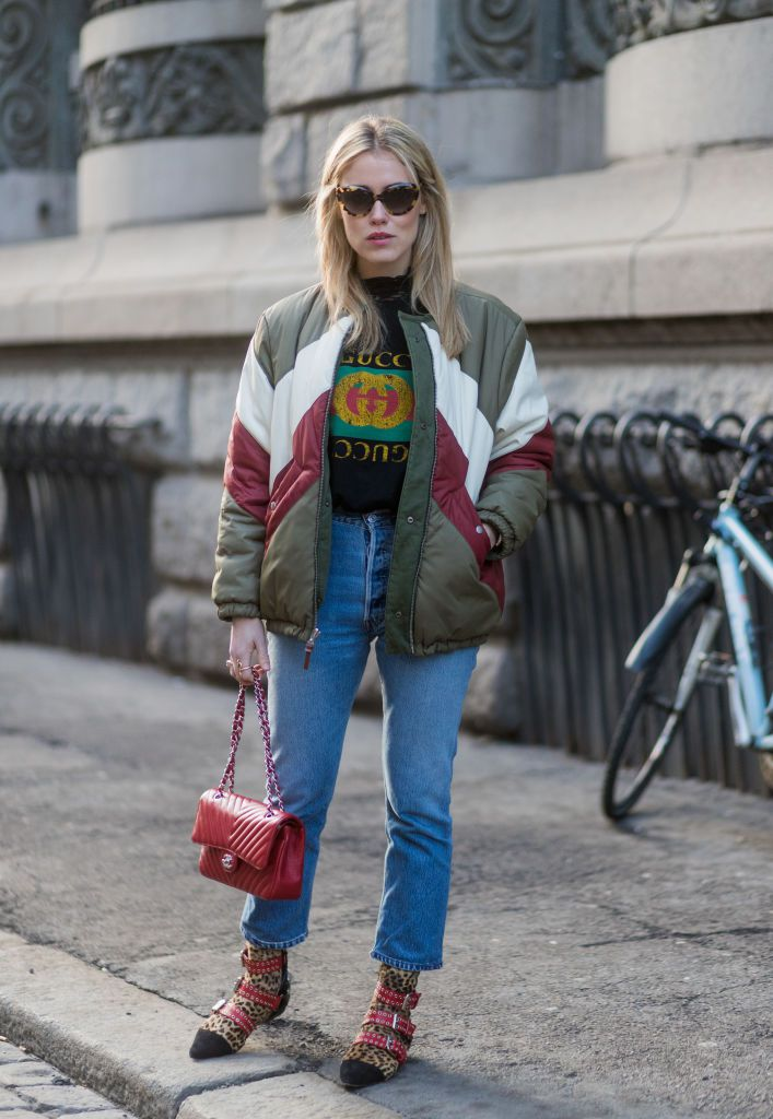 Street style in puffer coat