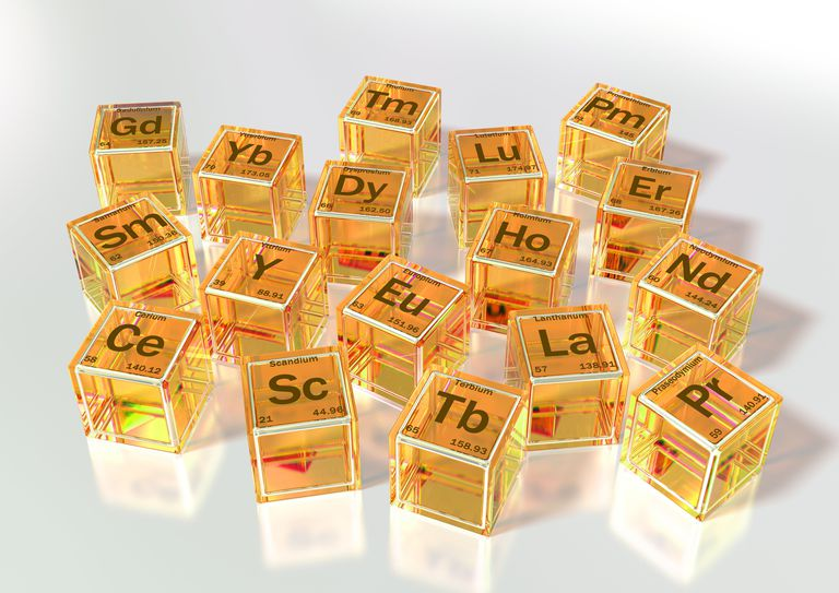 The rare earth elements are metals located in the first row below the main body of the periodic table.