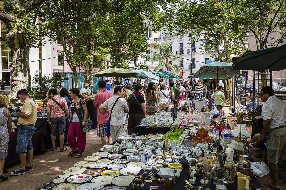 outdoor Saturday flea market at Plaza Constitucion