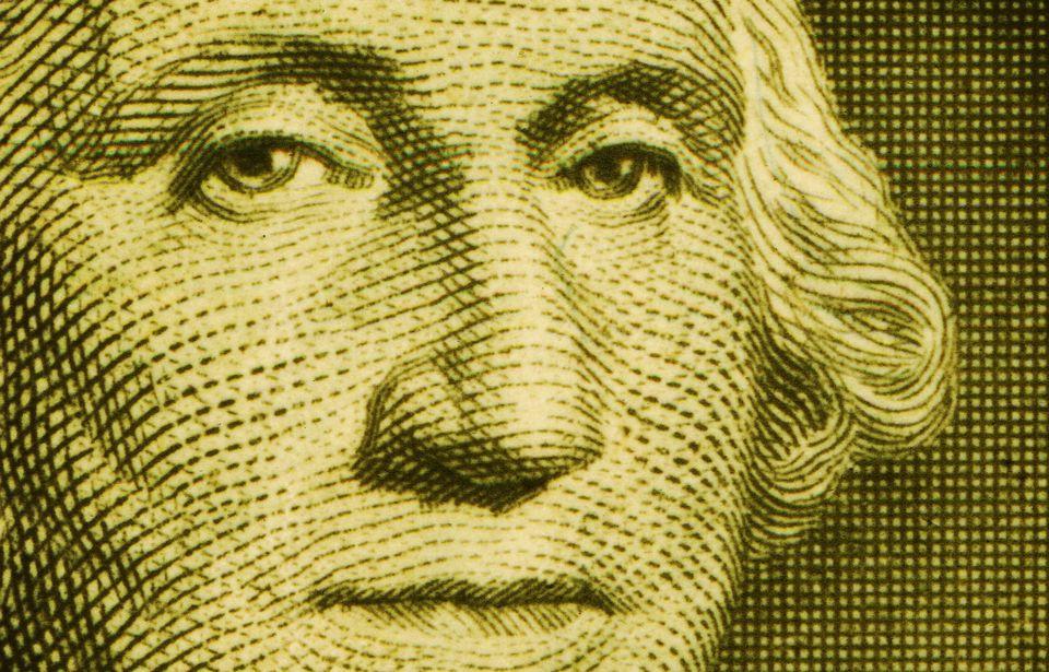 Close Up at Washington Portrait on a US Dollar Bill