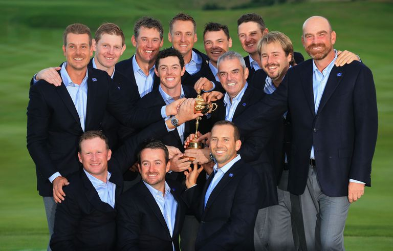 Members of Team Europe with the Ryder Cup in 2014