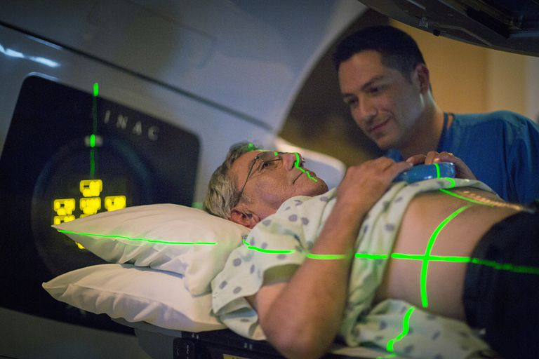 Patient preparing for radiation therapy