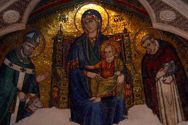 Mosaic of Mary, Queen of Heaven from a church in Rome, Italy. (Photo © Scott P. Richert)