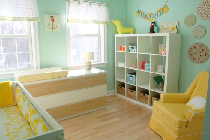 Gender Neutral Aqua And Yellow Nursery