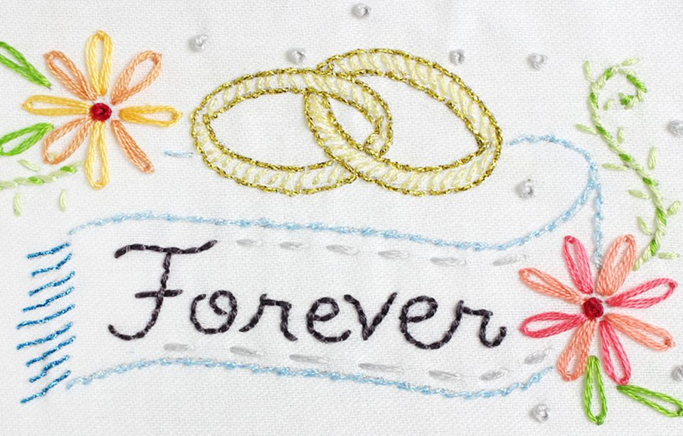 Embroidery patterns to celebrate a wedding