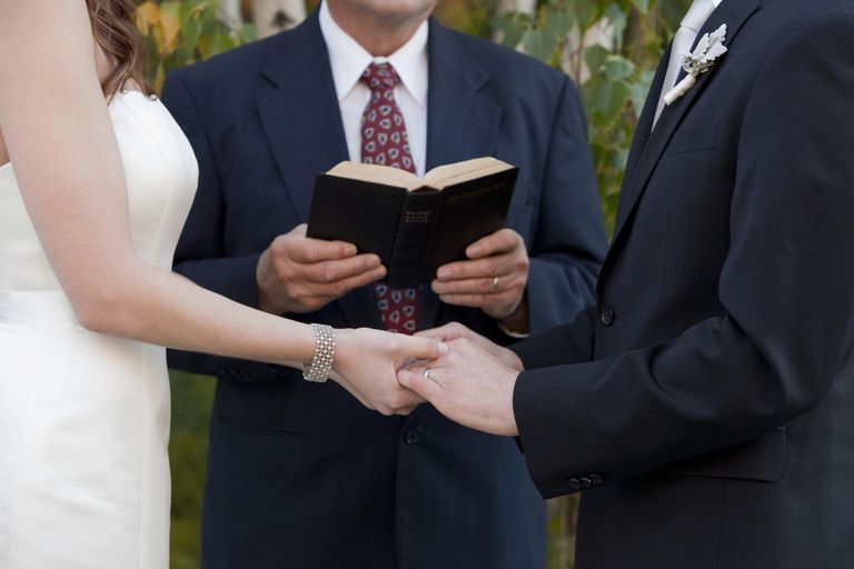 officiant and couple getting married