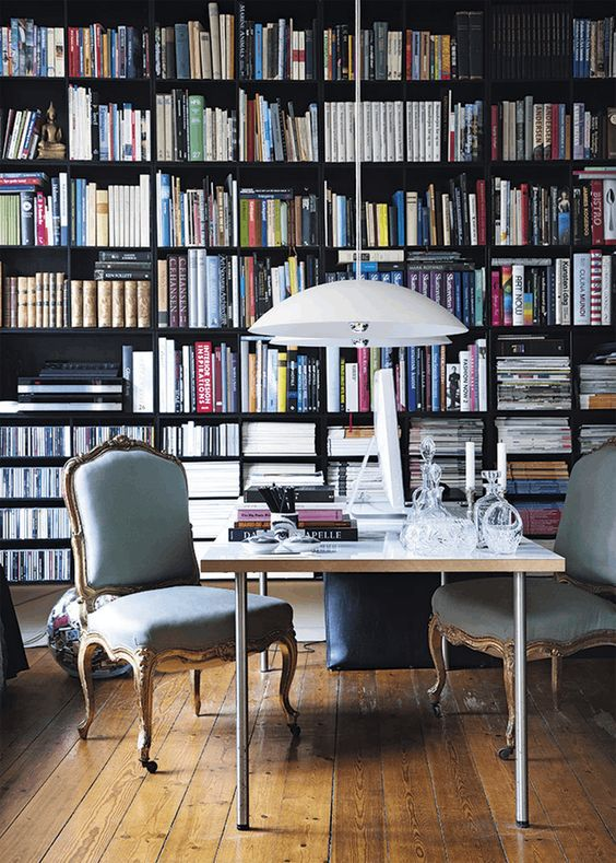 library with black shelving - Library Design Ideas