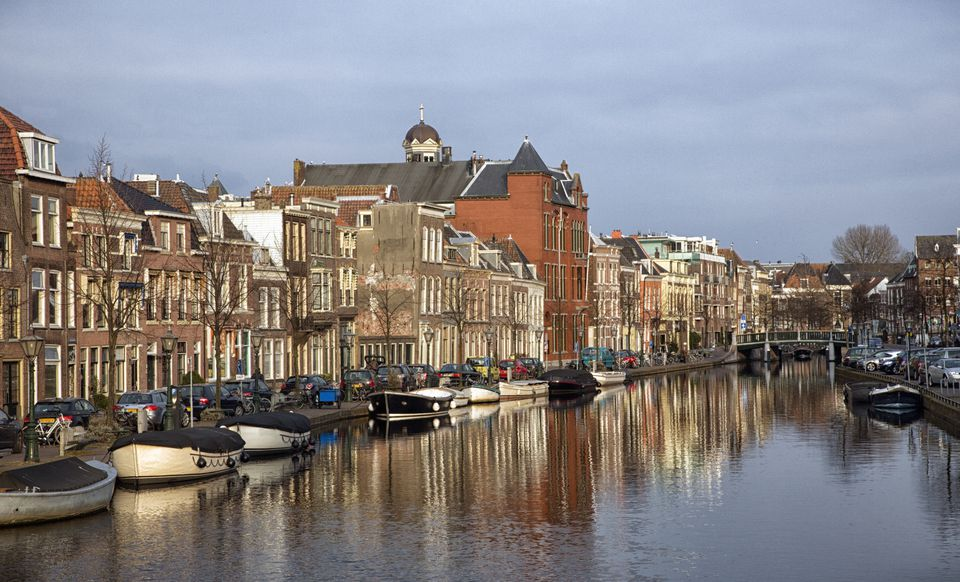 Leiden, Netherlands, University town, old city, canal, boats, reflections