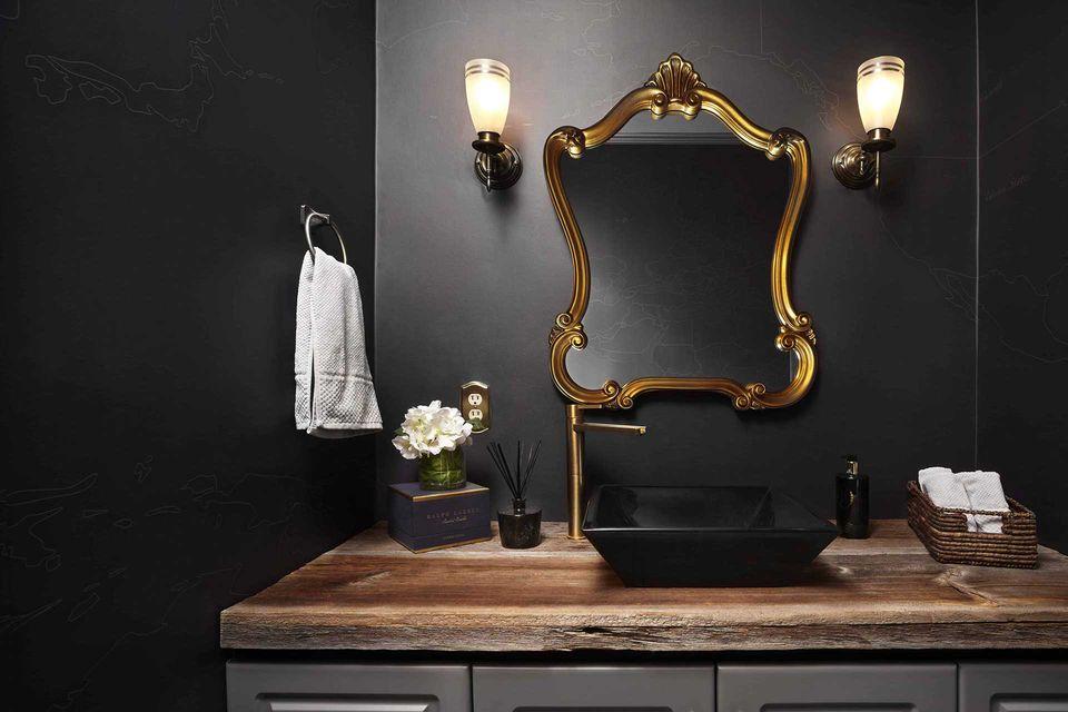 black farmhouse bathroom