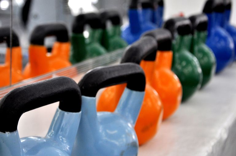 kettlebells in the gym