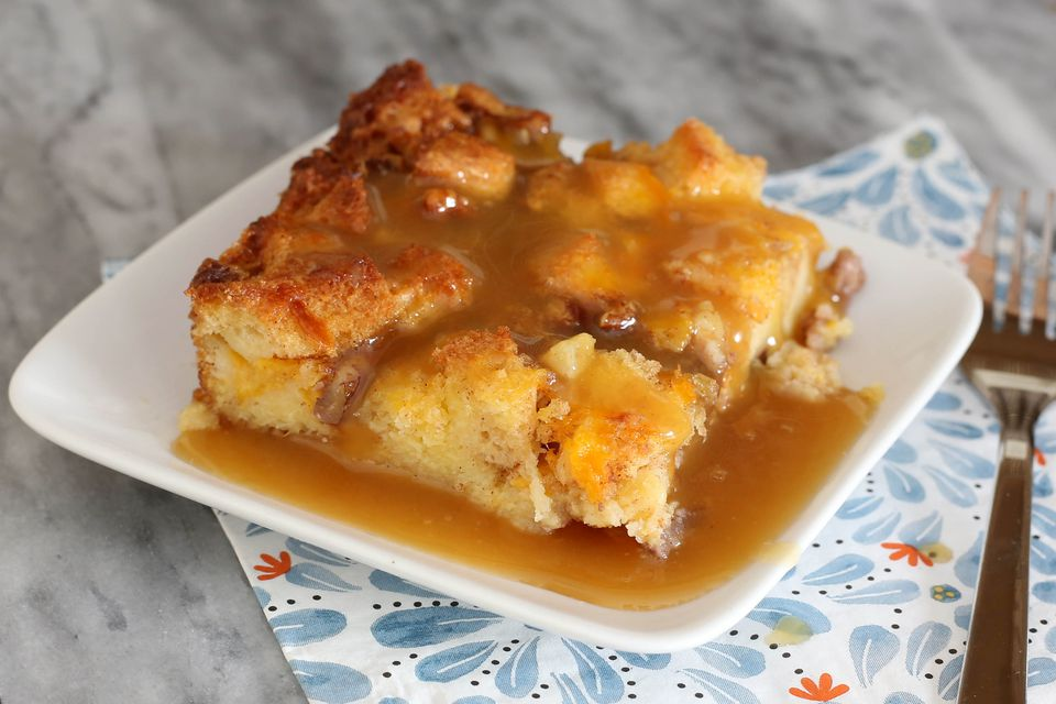 pineapple bread pudding with brown sugar sauce