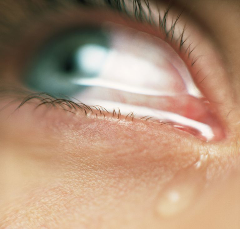 close-up of tear in eye