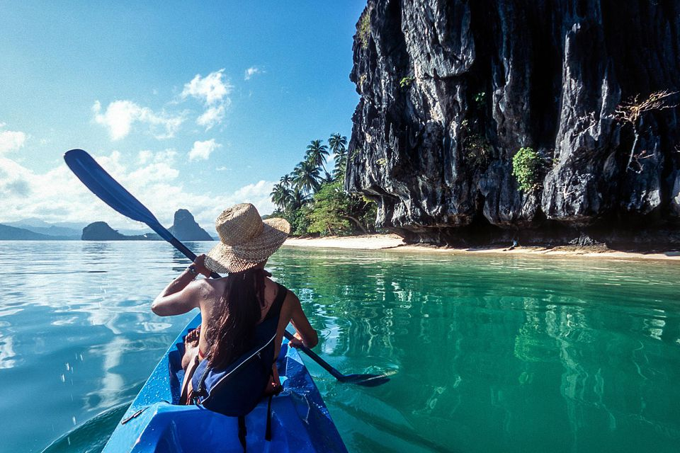 Kayaking in the ocean