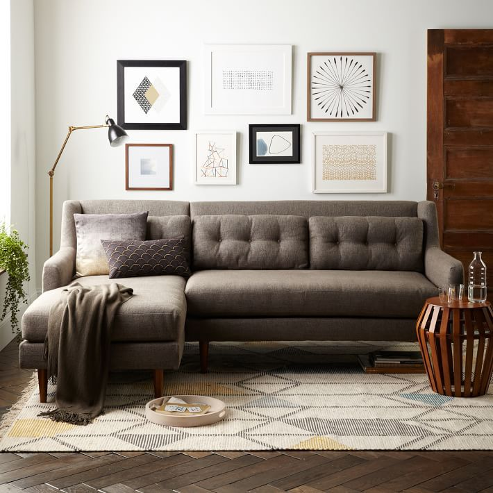 West Elm Crosby Mid-Century 2-Piece Chaise Sectional