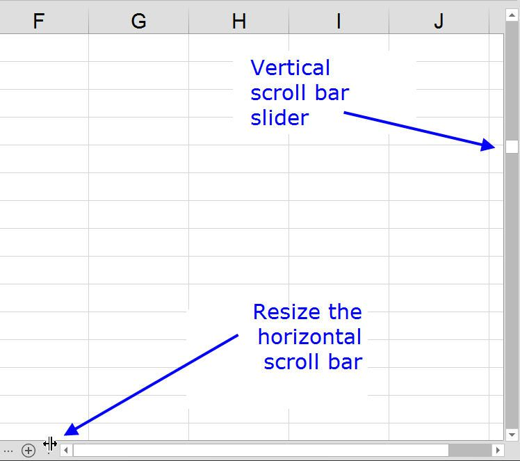 Hide, Resize, and Repair Scroll Bar and Slider in Excel