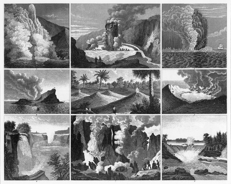 Volcanoes, Geysers and Water Falls Engraving
