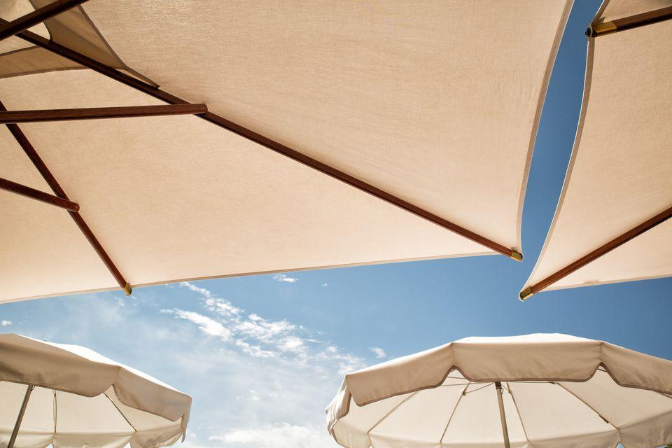 white patio umbrellas