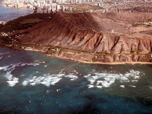 Aerial view of Diamond Head Crater in Honolulu, Hawaii