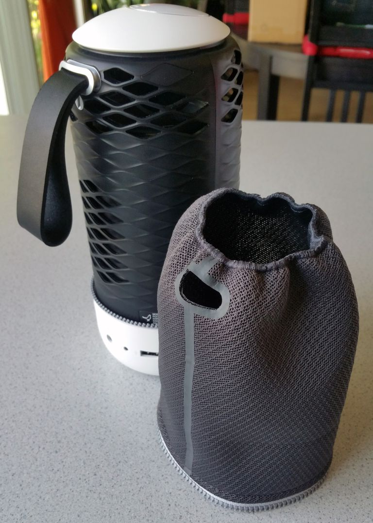 The Zipp Mini Bluetooth speaker with cover removed