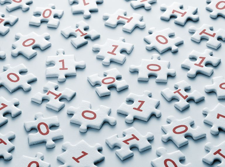 Binary numbers on puzzle pieces