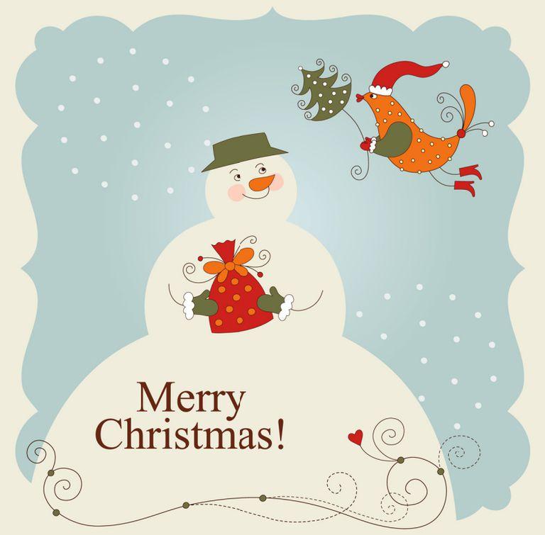87 free printable christmas cards to send to everyone a snowman and bird christmas card solutioingenieria Gallery