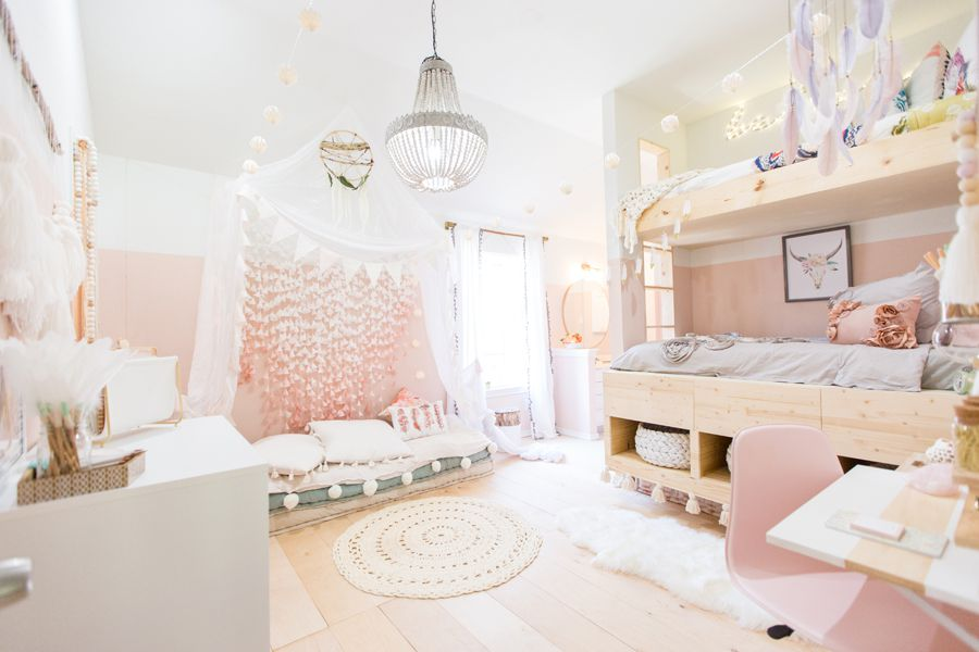 Boho girl s room in pink and white. 21  Dream Bedroom  Ideas for Girls