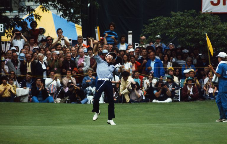 Hale Irwins throws his golf ball into the air after winning the 1974 US Open.