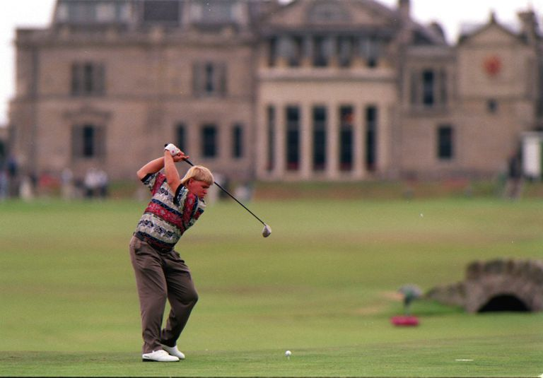 John Daly, winner of the 1995 British Open, tees off on the 18th hole at St. Andrews.
