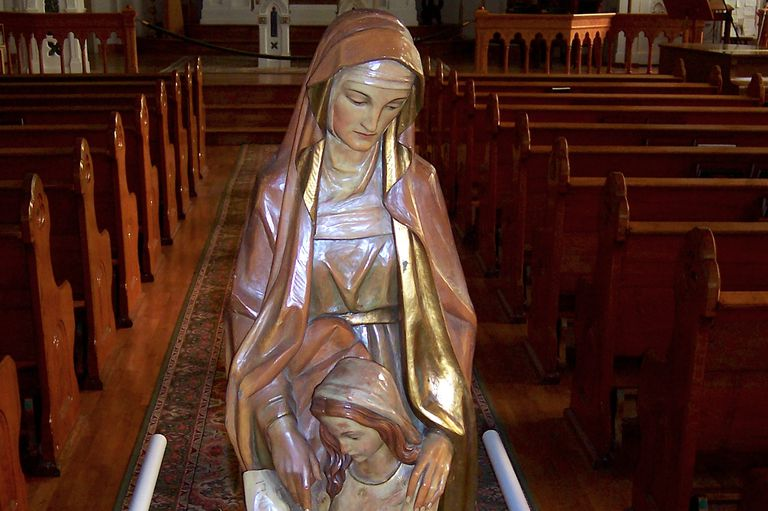 Statue of Saint Anne in Saint Anne's Church, Mackinac Island, Michigan. (Photo © Scott P. Richert)