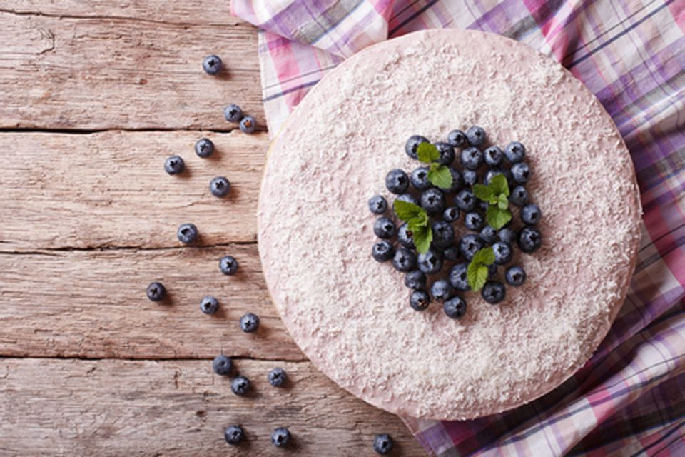Green Tea Coconut Cake (decorated here with blueberries)