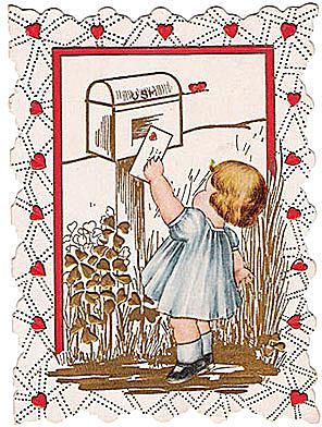 Vintage Valentines Day card. Little Girl Mailing Valentine