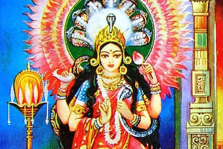 Depiction of Manasā, the snake-goddess in 20th Century Bengali popular art.