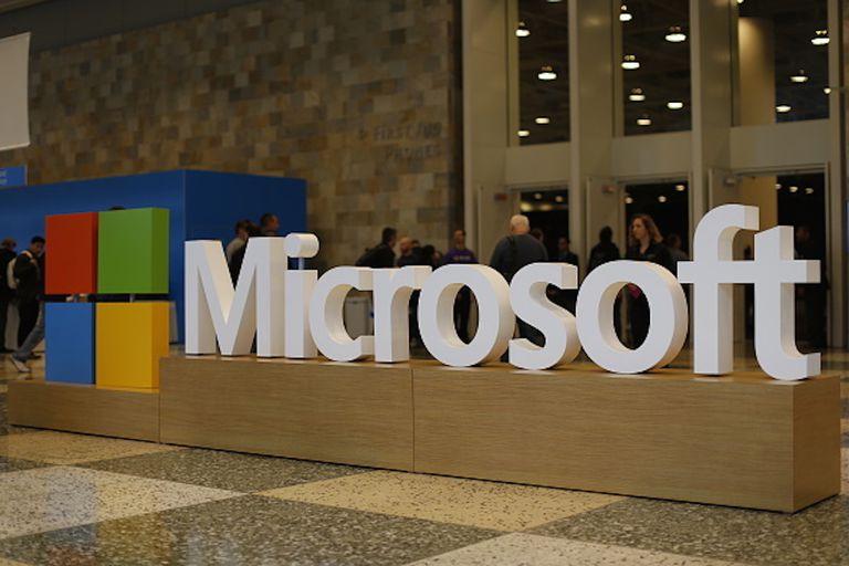 Microsoft logo in building