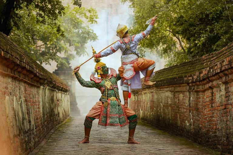 Khon,Art culture Thailand Dancing in masked khon Tos-Sa-Kan and hanuman in literature Ramayana,thailand
