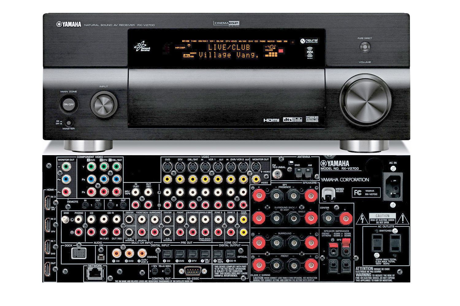 Yamaha rx v2700 7 1 channel home theater receiver full for Yamaha multi zone receiver