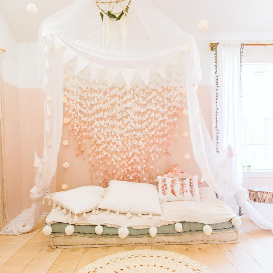 Beautiful Boho Chic Girls Room With Canopy And Floor Bed