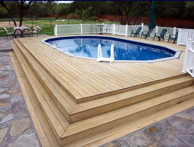 agp go above ground pool with deck surround - Above Ground Pool Steps Wood