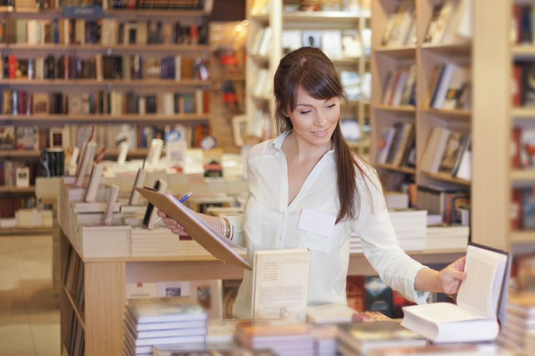 Women working at bookstore