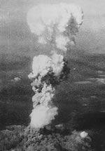 Mushroom cloud over Hiroshima During World War II