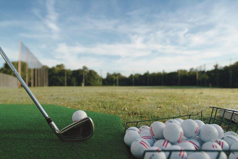 Range balls on a golf driving range