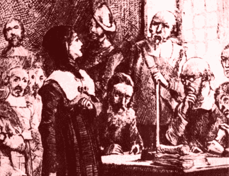 Anne Hutchinson on Trial - Artist Conception