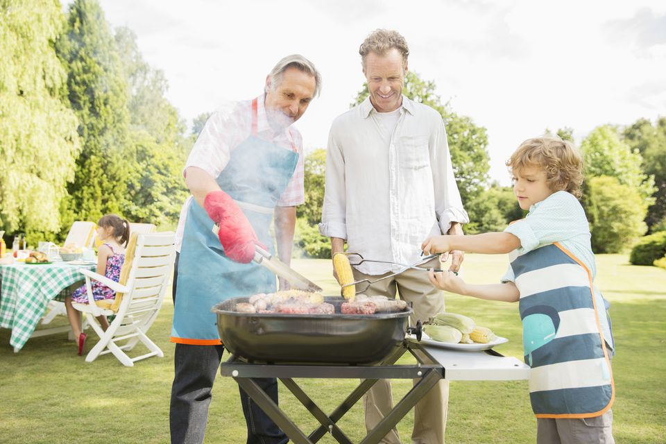 Family grilling food