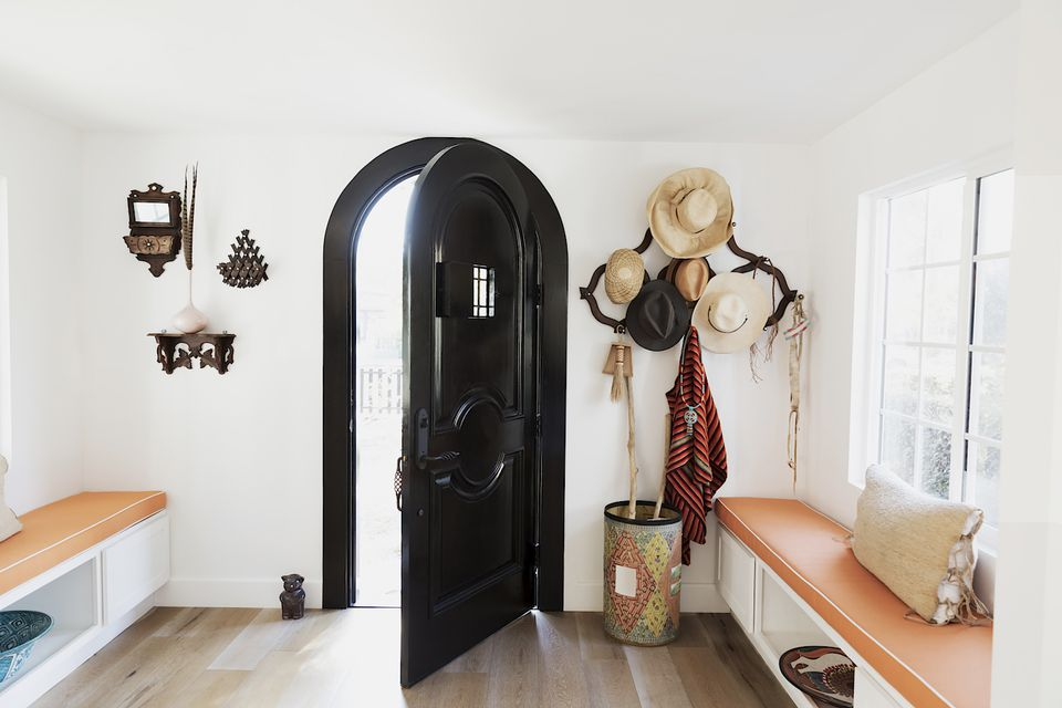 Light filled mudroom entry