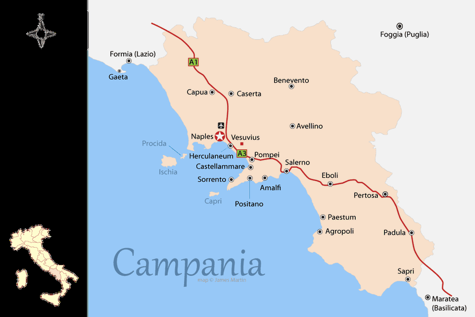 map of campania