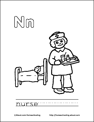 Letter N Coloring Book - Free Printable Pages