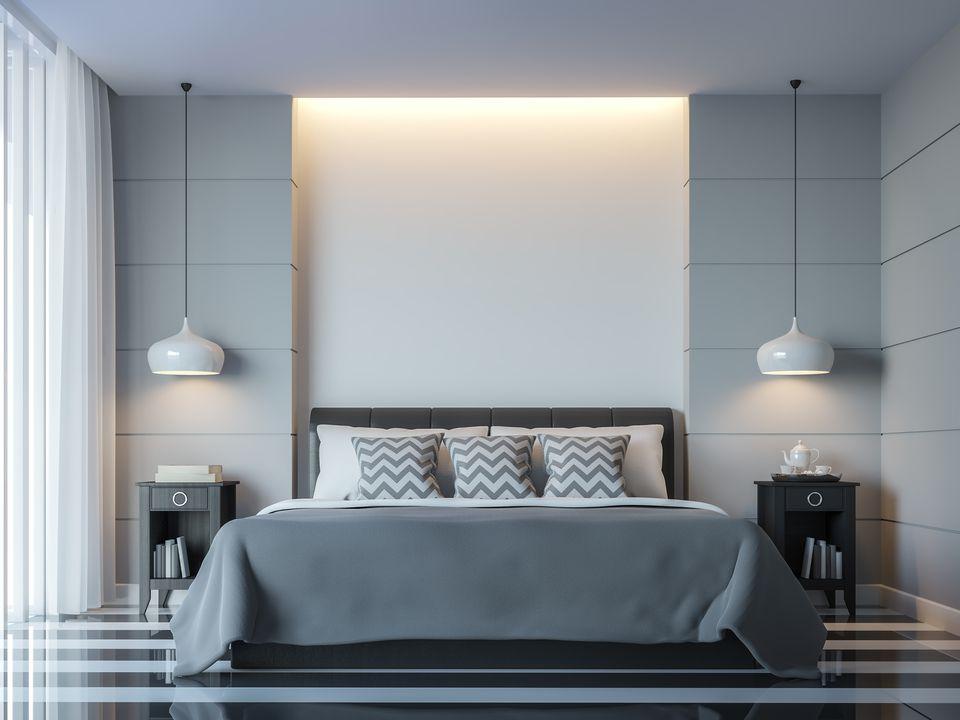 Gray bedroom color pairing ideas - Habitaciones de color verde ...
